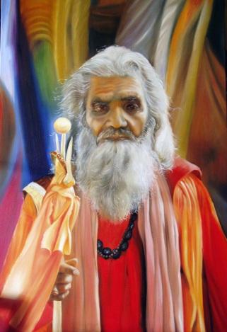Indischer Heiliger, Öl auf Leinwand, 150 x 100 cm