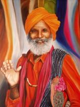 Indischer Heiliger, Öl auf Leinwand, 100 x 150 cm